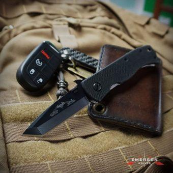 Emerson Mini CQC-7BW BT black plain edge